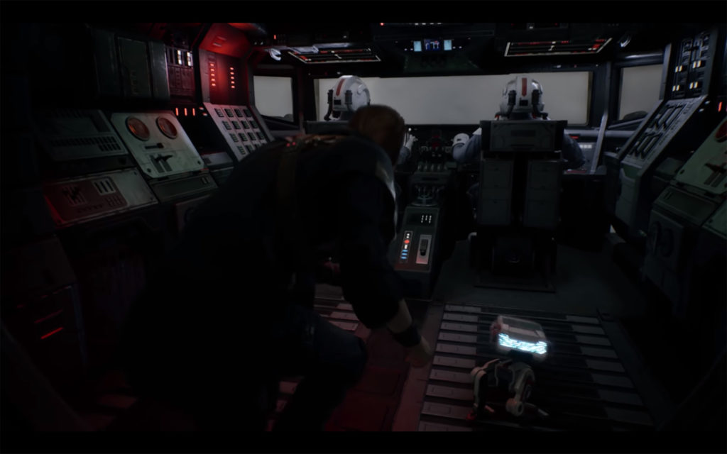 Jedi: Fallen Order - 2019 - screen - Cal and BD-1 hidden in the cokpit of AT-AT walker
