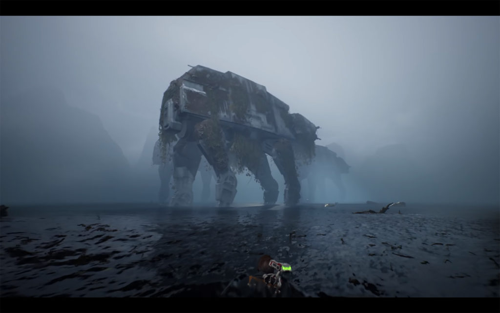 Jedi: Fallen Order - 2019 - screen - Cal swimming to AT-AT walker