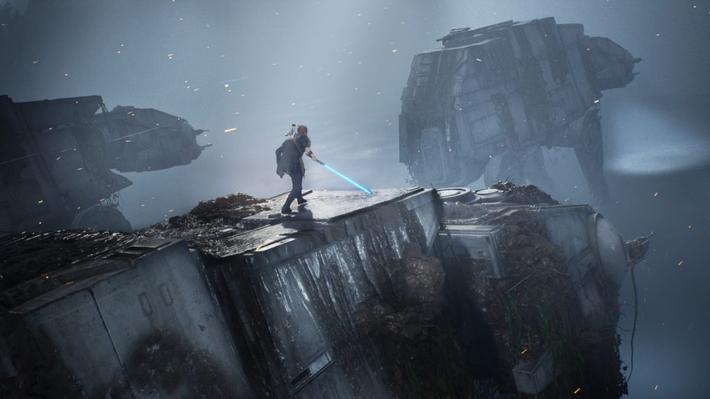 Jedi: Fallen Order - 2019 - screen - walker on walker - Cal and BD-1 walks on the AT-AT walker